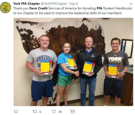 Farm Credit Services of America Facebook post about donating handbooks to FFA.