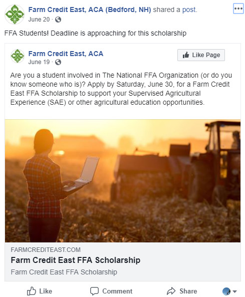 Farm Credit East Facebook post about a scholarship