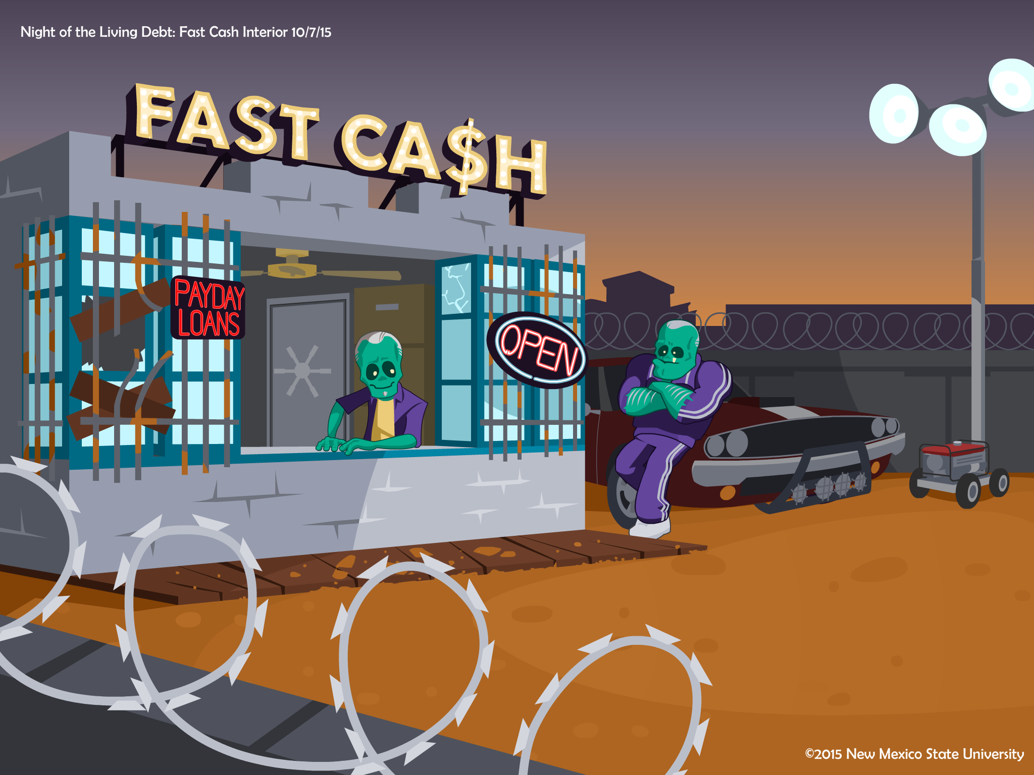 Night of the Living Debt video game fast cash building