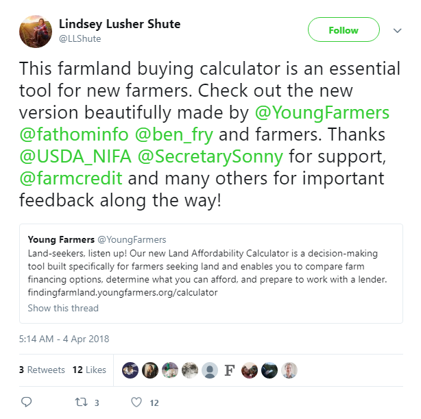 NYFC's Lindsey Lusher Shute tweets about the new Finding Farmland Calculator.