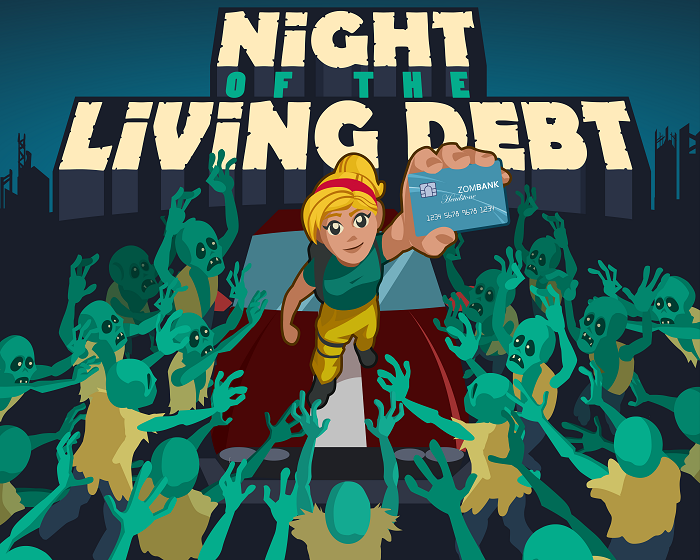 Night of the Living Debt video game title screen