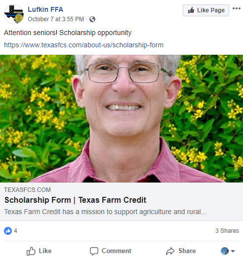Texas Farm Credit Facebook post about scholarship